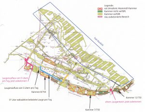 Die 750m-Sohle des Bergwerkes Asse 2 mit Kennzeichnung (in blau) der 2. südlichen Richtstrecke nach Westen, die das BfS demnächst verfüllen will.